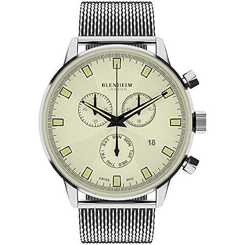 Blenheim Londres® Chronomaster color beige Dial Piloto Reloj con correa de acero inoxidable