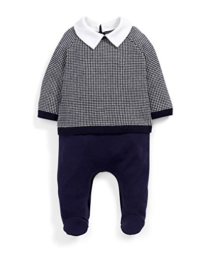 Mamas & Papas Baby-Jungen Strampler Mock Jumper Outfit All-in-One, Blau (Navy S94FAH8), Neugeborene (Mock Jumper)