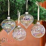 Valery Madelyn 4 Piezas 6cm Bolas de Navidad de Cristal Arco Iris Transparente, Adornos Navideños de Vidrio Adornos de Árbol para La Oficina en El Hogar y Banquete de Boda con Cadena Pre-Atada