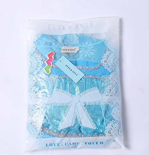 UK ELSA & ANNA® Girls Party Outfit Fancy Dress Snow Queen Princess Halloween Costume Cosplay Dress (4-5 years, UK-SEP306)