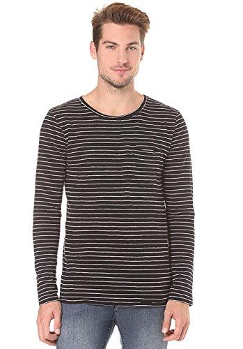 nudie-jeans-t-shirt-homme-tshirt-col-rond-coton-bio-ml-pocket-orvar-raye-blanc-et-noir-pour-homme-xl