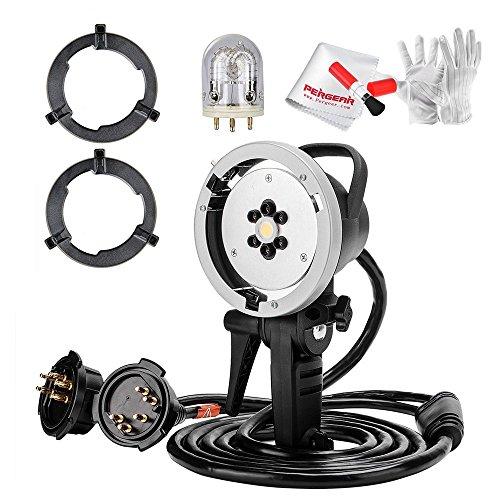 Bowens Mount Godox AD-H1200 1200W Off-Camera Blitzgeräte Flash Licht Kopf mit Godox AD1200 Tube Glühbirne Blitzröhre, Festen Ring und Pergear Reinigung Set für Godox AD600B AD600BM