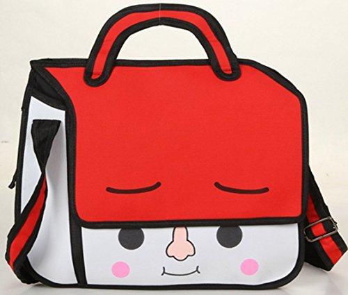 3D-Jump-Art-Bag, Schultertasche mit Animation / Zeichentrick -Effekt, Umhängetasche mit Comic (ROT)