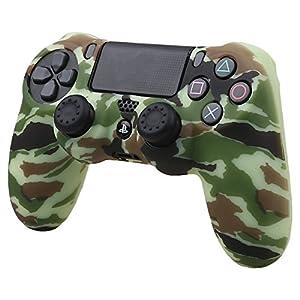 Pandaren® Wassertransfer Anpassen Camouflage Silikon Hülle Anti-Rutsch für PS4 controller x 1 (Gelb) + thumb grips aufsätze x 2