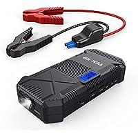TENKER 600A 14000mAh Tragbare Auto Starthilfe Power Pack Jump Starter, Externer Akku Ladegerät mit Dual Smart USB Ausgänge, LED Taschenlampe, Kompass, und LCD Display