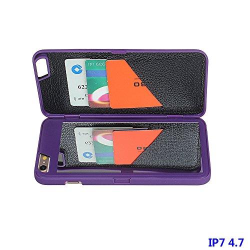 """xhorizon FM8 Schutzhülle Kiste mit Geldbeutel und Spiegel, Haltskiste mit Geldbeutel von aüßerem versteckten Spiegel mit Karteseinschnitt für iPhone 7(4.7"""") Mit einem 9H gehärtetem Glasfilm lila"""
