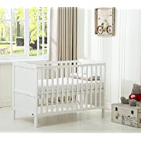 Mcc® Wooden Baby Cot Bed Toddler Bed Premier Water repellent Mattress Made in England (Orlando White)