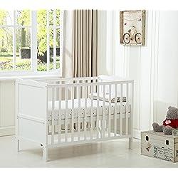 Mcc® Orlando - Cuna con lados, cama cuna para niños con colchón repelente al agua, cama de madera (color blanco)