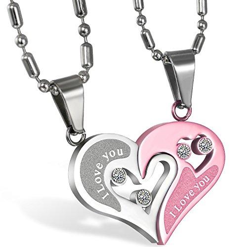 JewelryWe Schmuck 2PCS Paare Halskette Partnerketten Freundschaftsketten Partneranhänger Edelstahl I Love You Gravur Herz Puzzle Anhänger Kette Pink Silber