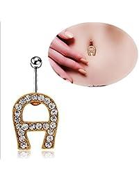 Hlzf LZ Mujeres Niñas Moda Diamante Carta Herradura Ombligo Anillo Anti Alérgica Ombligo Botón Ombligo Botón 14G 361L Mujeres Niñas