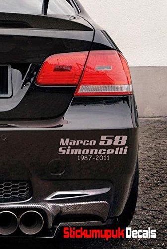 """Aufkleber für Auto/Motorrad """"Marco Simoncelli 58"""",hochwertiges Vinyl, Silber"""