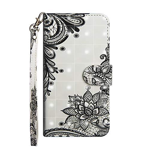 Sunrive Hülle Für Nubia NX595J Z17S, Magnetisch Schaltfläche Ledertasche Schutzhülle Etui Leder Case Cover Handyhülle Tasche Schalen Lederhülle MEHRWEG(Schwarze Blume)
