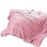 SIKESONG Massives Weiches Dicke Warme Bettdecke Decke Stricken Handarbeit Gewebten Decke Bett Bettwäsche Rosa