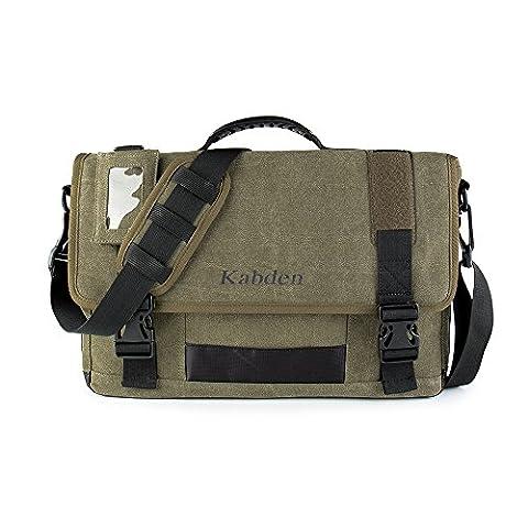 Tourwin New Version 17.3 Inch Laptop Crossbody Canvas Neutral Handbag Travel Vintage Military Casual Messenger Bag (Army Green)
