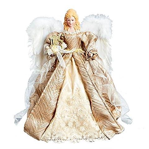 Grand Or Champagne Décoration pour sapin de Noël ange avec ailes en plumes Blanc (40cm)