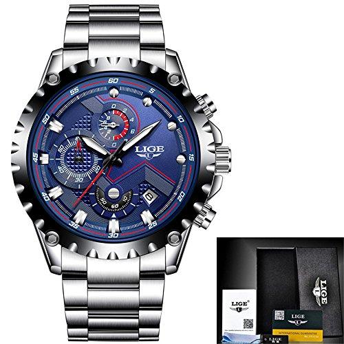 Uhr-Mann-Luxusmarken-Art- und Weisequarz-Uhr-Mann-voller Stahl-Multifunktionsmilitärsport-Armbanduhr Relogio Masculino, Blau, Stahl Vatertag-Geburtstag Weihnachten-Danksagungs-Hochzeits-Geschenk