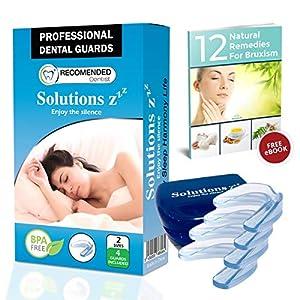 Solutions ZZZ Professional Mundschutz [4 PCS 2 Größen]- Zähneknirschen Zahnschiene Knirschen Bruxismus Zahnschutz Zähne Schiene -BONUS:Buch 12 Natürliche Heilmittel für Bruxismus und Gehäuse