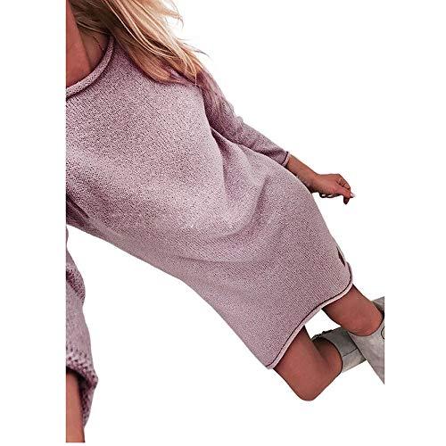 Sasstaids Sweatshirt Kleid, Frauen Solide Oansatz Langarm Lose Sweatshirt Tunika Tops Pullover Kleid