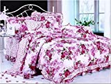 Gifty Cotton Double Luxurious Comforter and Queen Size Bedsheets with 2 Frill Pillow Covers, Pink