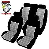 Akhan SB401 - Qualität Auto Sitzbezug Sitzbezüge Schonbezüge Schonbezug mit Seitenairbag Schwarz/Grau