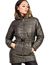 Ikrush Womens Ella Padded Faux Fur Hooded Belted Jacket