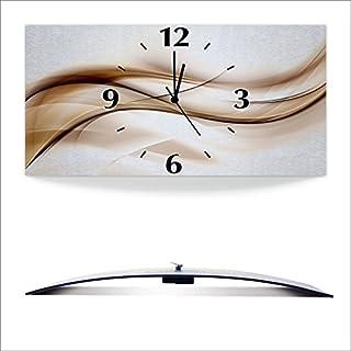 Artland 3D analoge Wand-Funk- oder Quarz-Uhr Digital-Druck auf Alu metallic mit Motiv Siclov Art Schön abstrakt braun Welle Design Hintergrund Motive Muster Streifen Digitale Kunst Braun D3HQ