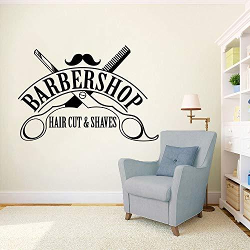 zqyjhkou Haarschnitt Rasiert Logo Wand Fensteraufkleber Barbershop Zeichen Wandaufkleber Friseursalon Dekor Abnehmbare Haarschnitt Wand Vinyl Wandbild Ay1581 42x29 cm -