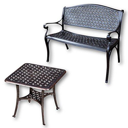 Lazy Susan - JULY Gartenbank und SANDRA Quadratischer Kaffeetisch - Gartenmöbel Set aus Metall, Antik Bronze