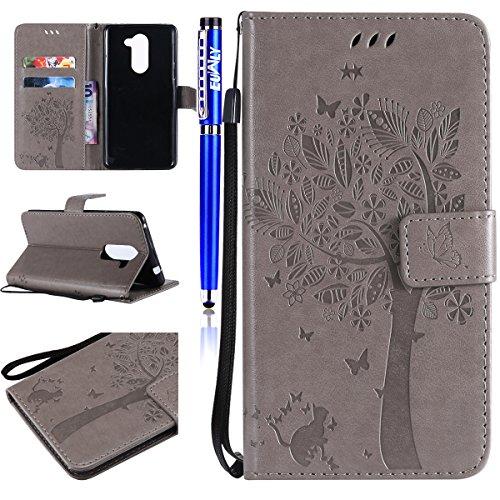 EUWLY Kompatibel mit Huawei Honor 6X Handyhülle Tasche Lederhülle/Wallet Case/Ledertasche Schmetterling Blumen Retro Flip Case Schutzhülle Magnetverschluss Kartenfächer,Grau
