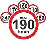 Geschwindigkeitsaufkleber km/h Aufkleber Reifen Winterreifen 160-240 kmh Vmax 48 Stück gemischt
