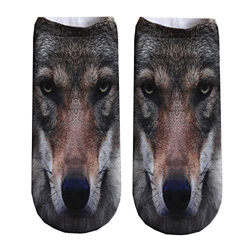 KPILP Beliebte Lustige Männer Frauen Unisex Kurze Socken 3D Hund Gedruckt Warme Fußkettchen Socken Haussocken Casual Socken Stiefel Socken,E3