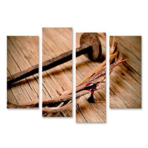 bilderfelix® Bild auf Leinwand eine Darstellung der Dornenkrone Jesu Christi mit Blut und einem Nagel am Heiligen Kreuz Wandbild Leinwandbild Kunstdruck Poster 130x80cm - 4 Teile (Kreuz Mit Dornenkrone)