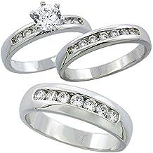 Pretty joyas 14K oro blanco Fn 925plata redonda imitación de diamante de las mujeres & hombres de Trio juego de anillos de boda a juego