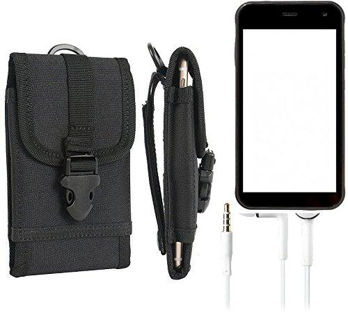 K-S-Trade Schutzhülle für Cyrus CS 22 Gürteltasche Gürtel Tasche extrem robuste Handy Schutz Hülle Tasche Outdoor Handyhülle schwarz 1x + Kopfhörer