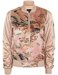 Topshop Pink Tiger Printed MA1 Bomber Jacket Puffa Jacket Coat Outerwear UK 10 / EURO 38 / US 6 - Brand New With Tags