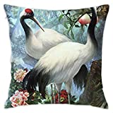 YOKJLDH Customized Pillow Case-Red-Crowned Cranes Decorative Cushion Cover Pillow Cover Sofa Seat Car Pillowcase Soft,18x18 Inch
