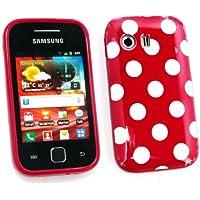 Paquete Emartbuy Valor Para Samsung S5360 Galaxy Y Protector De Pantalla Lcd + Gel Lunares De La Piel Cubierta / Caso Rojo + Compatible Micro Usb Car Charger