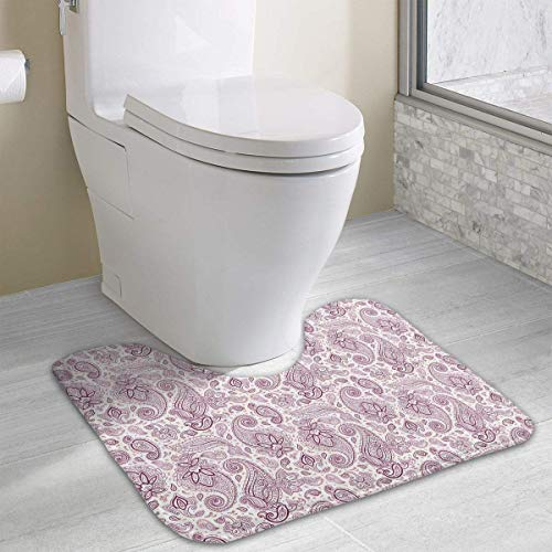 Uosliks Flowers Leaves and Buds Pattern Water Uptake Toilet Rug and Customized Artwork Print Bathroom Carpet Rug Bath Mat 15.8 X 19.3in -