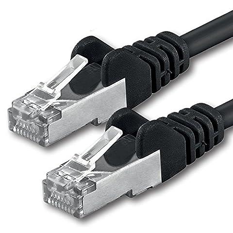 1aTTack CAT 5e foliengeschirmt FTP Netzwerk Patch-Kabel mit 2x RJ45 Stecker 15m schwarz