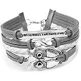 Infinity Easter Owl Friendship Leather Charm Bracelet Gift including gift box Boolavard® TM