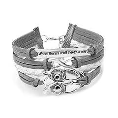 Idea Regalo - Boolavard TM Trendy Donne Infinity gufo Amicizia Pasqua Antica Sveglia del cuoio del Braccialetto di Fascino di regalo Contenitore di Regalo