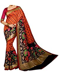 Macube Women's Bhagalpuri Silk Saree With Blouse Piece (Ms211_01,Orange Black,Free Size)