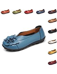 Gaatpot Damen Blumen Mokassins Atmungsaktiv Leder Bootsschuhe Freizeit  Loafers Flache Fahren Halbschuhe Schuhe,11 Farben 04475eef42