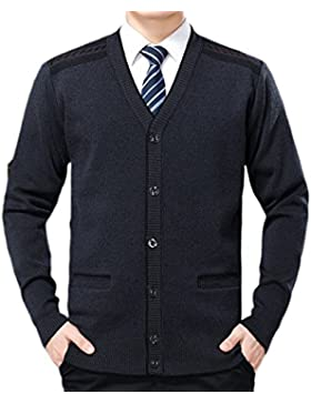 PDFGO Chaleco Para Hombres Suéter Chaqueta De Punto Camisa Suéter Hombre Invierno Manga Larga Escote De Pico Chaleco...