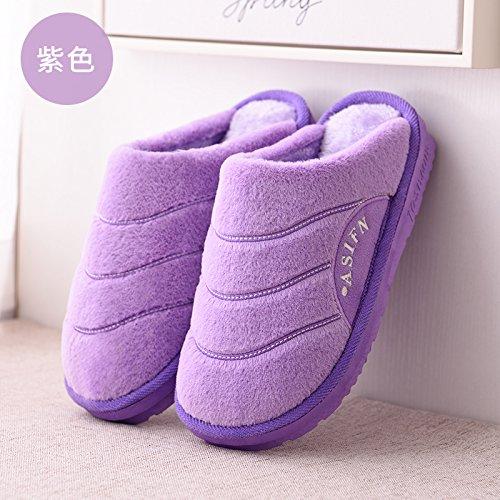 DogHaccd pantofole,Il cotone pantofole uomini di spessore del pacchetto invernale con piscina coperta anti-slittamento home il pavimento in legno Home Plus il velluto di cotone coppie pantofole uomini La porpora2