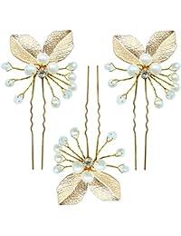 Rarelove Golden Leaf novia perlas sintética Pearl Pin pelo para boda ocasiones