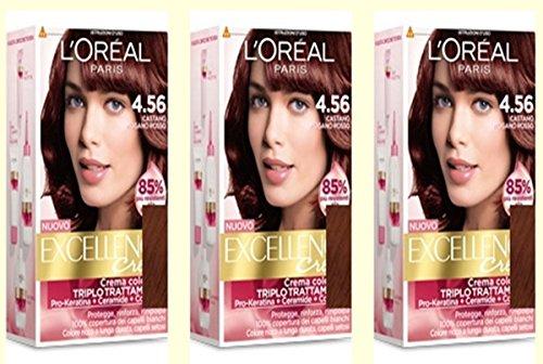 3-x-loreal-excellence-creme-456-castano-mogano-rosso-tintura-per-capelli
