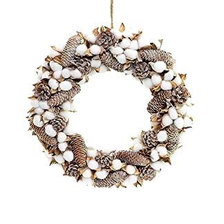 Shatchi 15529-WREATH – Corona de Navidad (22 cm, hecha a mano, con bolas de algodón auténtico, conos de pino vintage, decoración para puerta de Navidad, color verde)
