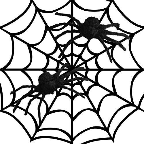 AimodonR Fake Spider Web schwarz Halloween Dekorationen, mit 2 großen Spinnen-Outdoor Yard Haunted House Party Dekor liefert 8,2 ft