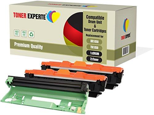 3-er Pack Toner Experte Trommel & 2 Toner Kompatibel zu DR1050 TN1050 für Brother DCP-1510 DCP-1512 DCP-1610W DCP-1612W HL-1110 HL-1112 HL-1210W HL-1212W MFC-1810 MFC-1910W